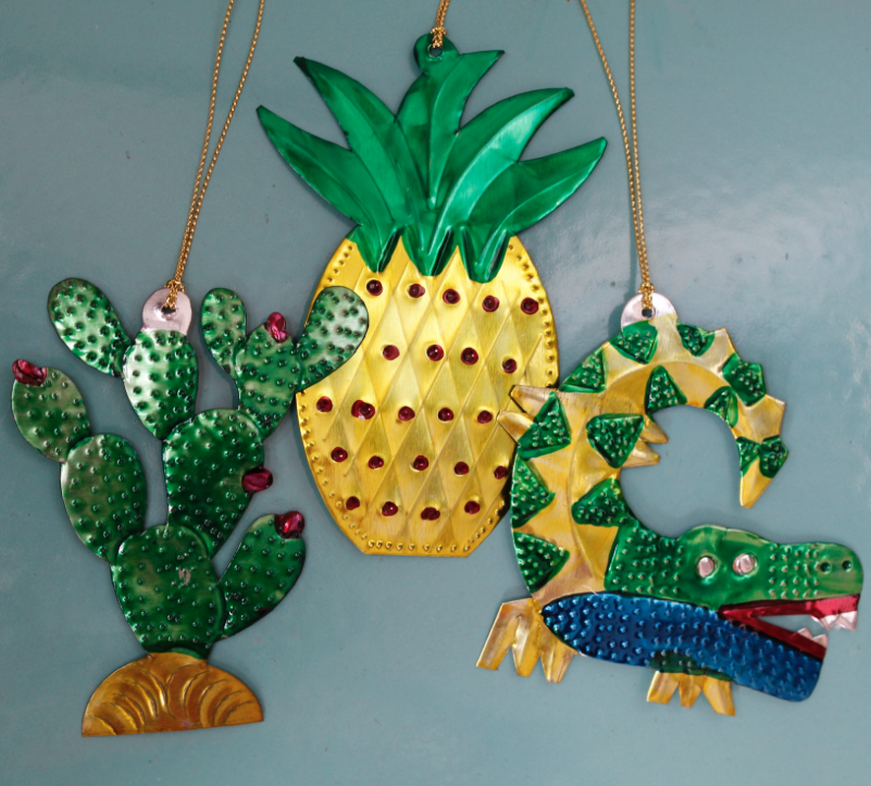 For something a bit different..tropical tree decorations made in Mexico from recycled tin, from £4