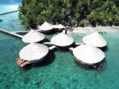 Over ocean bungalows at MahaRaja resort in Indonesia
