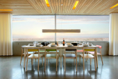 Dining area in The Dune House in Thorpeness by Mole Architects