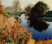 Bob Rudd's painting Teasels, River Avon