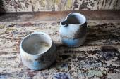 Ceramic pourer and sugar bowl by Jack Doherty