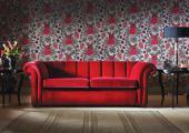 Splendid Oscar sofa in red cotton velvet