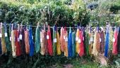 Natural dyes are used to colour wools at Townhill Studio in Dorset