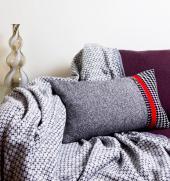 Grey tweed wool cushion, 30x55cms, £45