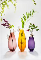 Imago glass vases with bronze butterflies by Hanne Enemark