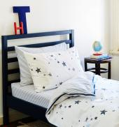 New Potato Stamp Stars organic cotton kids' bedlinen from Fox Organic Kids, £52 for duvet cover and pillowcase