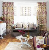Roman blinds and curtains are a great combination