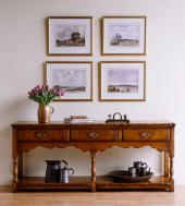 English oak sideboard with detailing found on 18th antiques