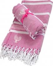 Organic cotton hammam towels from Wildash in pink for Breast Cancer awareness month