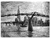 Millennium Bridge, woodcut by John Bryce, 16x22cms, £210