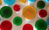 Murano glass containers with brightly coloured lids by Yali