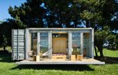 Shipping containers make a good shell for a garden room
