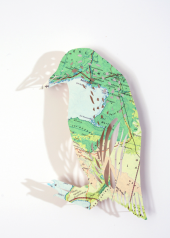 Clare makes her delicate birds from old and out of date maps