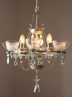 Chandelier made from old kitchen utensils by Madeleine Boulesteix