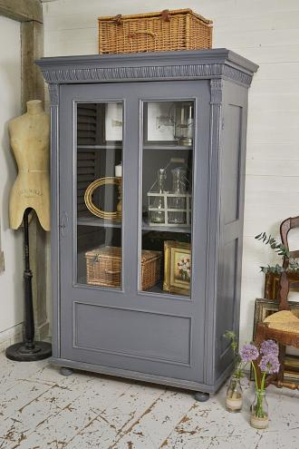 Grey painted shabby chic linen cupboard