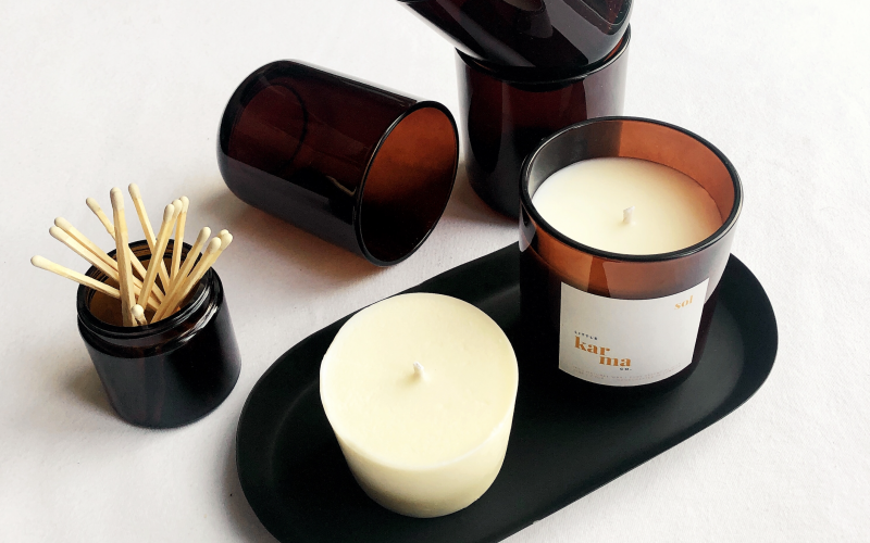 Scented candle from the Little Karma Co