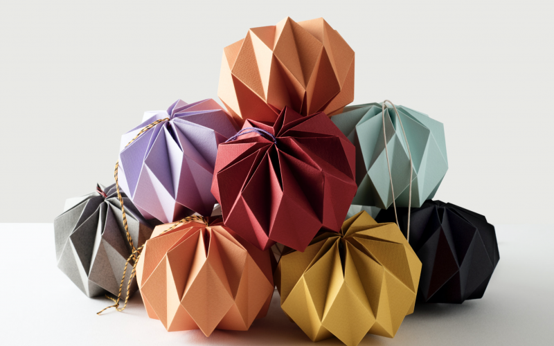hand folded paper baubles Kate Colin Design
