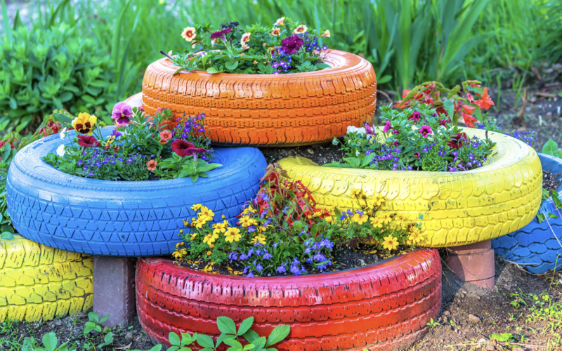 Old tyres can be upcycled into planters