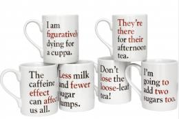 Excellent. Grammar mugs..never again say less when you mean fewer. Made in UK, £7.95 each. From The Literary Gift Company. www.theliterarygiftcompany.com