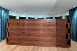 American black walnut was used to build storage in the Rigg Beck house by Knox Bhavan architects