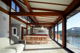 Living area in Trewarren house in Pembrokeshire by John Pardey architects. Shortlisted in structural section