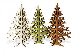 Recycled cardboard Christmas trees by Estonian Kristi Tamming, etsy.com