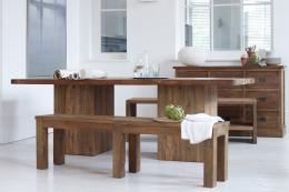 Megan reclaimed teak dining table with block legs, from £1,749. www/raftfurniture.co.uk