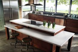Eco in white from Cosentino is a very attractive material that feels like a quartz worktop