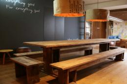 Table by Elvis & Kresse for a Wahaca restaurant  is made from reclaiimed scaffold planks, and the lights are coffee sacking and parachute silk. www.elvisandkresse.com