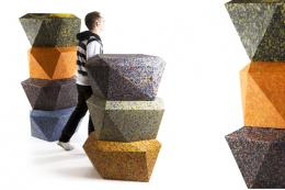 Geometric recycled plastic seating units from Chilean designer Rodrigo Alonso's 100% range
