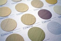 Swatches from Eicó Paints, which are pure acrylic and made in Iceland
