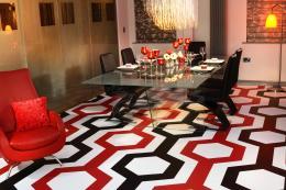 Bespoke geometric pattern printed on Forbo vinyl by Floorink. www.floorink.com