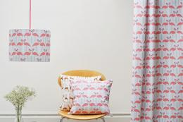 Rosa & Clara Designs has a modern Flamingo print on cotton. Cushions and lampshades are made by people at mental health social enterprise Working Well Trust in London. 40x40cm cushion £40. www.rosaandclaradesigns.co.uk