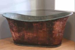 Unrestored copper bateau bath, French, C19th, £2,750 from Original Baths in Somerset. www.originalbaths.com