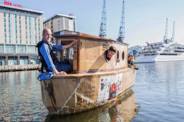 A cardboard clad boat... there's always a lot of inspired innovation at the show