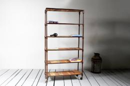 Reiner bookshelf on castors, ideal if move flats a lot. Made from reclaimed hardwood and old metal pipes, £490 at Little Tree Furniture