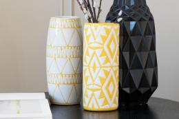 Bold yellow earthenware Pop Vase (centre), £25 at Kelly Hoppen