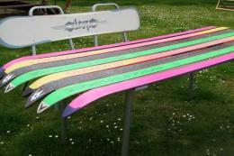 Old skis and snowboards can become colourful modern garden benches. From £325. Kiss the Frog Again