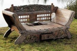 Bali Majestic Daybed Bench is made from reclaimed teak, put together, carved and decorated by Indonesian craftspeople. Has recess for cushion storage, £1,000. www.gardenfurniturecentre.co.uk