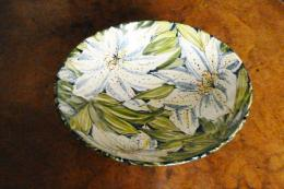 Beautiful Clematis ceramic bowl made in Cheshire by Ken Shelton and hand-painted by wife Valerie. Around £80. www.sheltonpottery.co.uk. Photo: Nigel Trow