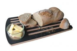 Layers of recycled paper packaging make the material for this grooved breadboard from Cornwall's innovative Ashortwalk. £34.95. www.ashortwalk.com