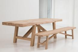Chunky, air-dried FSC certified oak benches and tables are a speciality at Benchmark Furniture. Oscar table £3,100. www.benchmarkfurniture.co.uk
