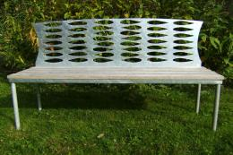 Zinc-galvanised steel and oak Willow Leaf bench, £925 by Victoria Govan & Richard Warner of Iron Vein in Powys. Steel is recyclable and usually contains a fair amount of recycled metal. www.ironvein.co.uk