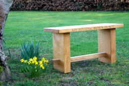 These sturdy wooden benches are made in UK from English oak and traditionally built. From £395 without personalisation, £425 with up to 30 characters. www.giftwrappedandgorgeous.com