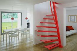 Modern compact 1m2 stainless steel staircase from Eestairs in Holland, £3,480. Choose in any RAL colour. Can be used by competent self-builders. Ideal for garage conversions or for access to loft spaces. www.eestairs.com