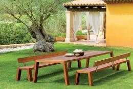 Minimalist Solo FSC certified Iroko wood dining set by Viteo from Encompass, table £3,508. www.encompassco.com
