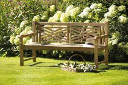 Teak Cross bench from Bramblecrest, £274.99. www.worldstores.com