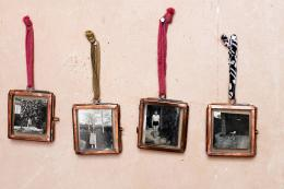 Fair trade tiny antique copper Kiko picture frames, with antique sari ties, perfect for tiny pics and mementoes, £16.95 for two at www.pipii.co.uk