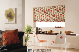 Roman blind from Bloc, whose BlocOut blinds can reduce heat loss from windows by 43 per cent www.blocblinds.co.uk