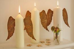 For heavenly candles..Rusty angel wings from Velvet & Dash, £5 a pair. www.velvet-dash.co.uk